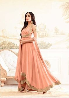 Sonal Chauhan Peach Georgette Anarkali Salwar Suit After placed order you should submit MeasurementHere