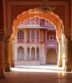 Pink and Orange buildings in Jaipur, India