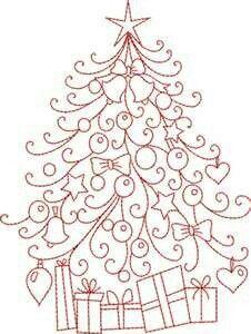 Pretty, easy way to draw a Christmas tree!
