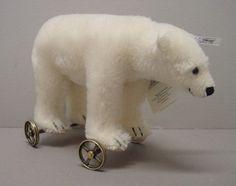 Mohair Polar Bear on Wheels 1911 , white by steiff.