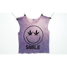 Smiley Marijuana Weed Crop Top Sleeveless baggy Oversize T Shirt Black... ($33) ❤ liked on Polyvore