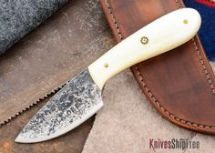 Oaks Bottom Forge: Throwback Outdoor Knife - Camel Bone - #123004