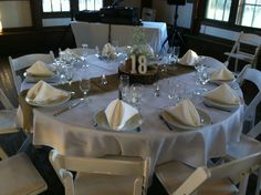 Table Setup with Bulap Table Runner at Camp Mary Orton