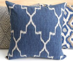 Modern navy moroccan ikat decorative pillow cover, accent pillow, throw pillow on Etsy, $38.00