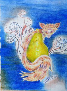 Fox and Pear Art, Fox Paintings, Fruit Still Life, Kitsch, Modern by LunarDolly on Etsy