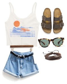 """""""Summer outfit"""" by elizadye ❤ liked on Polyvore featuring Billabong, Birkenstock, J.Crew, Zodaca, women's clothing, women, female, woman, misses and juniors"""