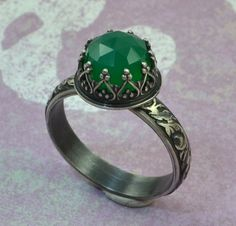 Chalcedony Ring in Sterling Silver, Faceted Rose Cut Green Stone in Crown Heart Setting on Etsy, £31.02