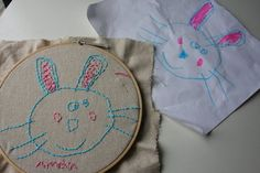 How to put kids' artwork into the fabric of the family ~ A great tutorial on how to turn kids' artwork into a hand embroidery memory! ~ ♥