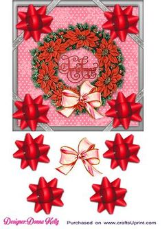 red wreath Christmas card front on Craftsuprint designed by Donna Kelly - Vintage red Christmas card front, vintage wreath in red toneswith Christmas in the center. Includes decoupage five bows. This card embodies the spirit of Christmas. Family friendly card front to suit all ages. - Now available for download!