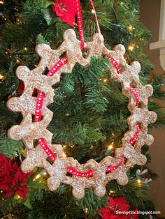 """Gingerbread"" man wreath...but it's really some kind of salt dough. Genius!"