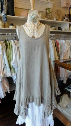 Sleeveless Linen Flutter Top with ruffle bottom in Flax, by Hearts Desire.   fb.com/mimibellafinelinenwear