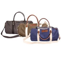 A handsome weekender bag, the Personalized Canvas & Leather Duffle Bag is perfect for the man on the go. Distinguished travel luggage, this duffle features Groomsmen Gifts Unique, Groomsman Gifts, Leather Duffle Bag, Duffel Bag, Weekender, Leather Bags, Personalised Canvas, Yoga Bag, Black Canvas