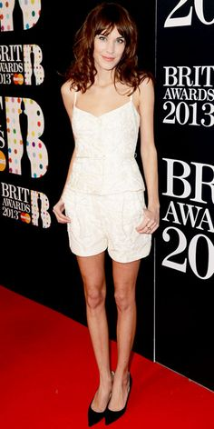 At the Brit Awards, Alexa Chung paired her textured short set with sleek stilettos.