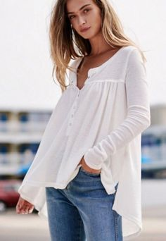 Not sure about fabric type but style would look good on me. Especially with tighter arms but tailored/looser body. We The Free Kai Henley Women's Henley, Henley Shirts, Quoi Porter, Lace Tops, Casual Tops, Free People Tops, Long Sleeve Tops, Clothes For Women, Women's Clothes