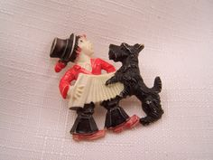 Vintage Celluloid Czech Brooch Dog and Child