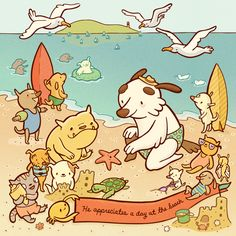 "Original artwork for CharlieDog and Friends: ""A Day at the Beach"".  By artist Erica Sirotich."