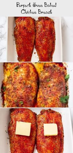 Perfect Oven Baked Chicken Breast - Recipes Perfect Oven Baked Chicken Breast - these are incredibly juicy and flavored with the perfect amount of seasonings. Foolproof tip shared on how to bake the juiciest chicken breasts ever! Chicken Recipes Juicy, Crispy Baked Chicken Thighs, Easy Oven Baked Chicken, Baked Teriyaki Chicken, Juicy Baked Chicken, Baked Greek Chicken, Oven Roasted Chicken, Baked Chicken Breast, Chicken Breasts