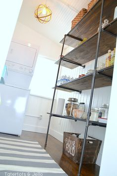 Uses off-the-shelf pipe, with links to all pieces on Lowes.com [industrial shelves for a pantry]