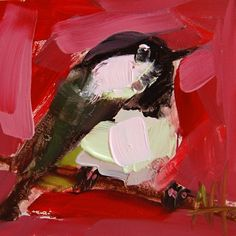 Chickadee no. 705 original bird oil painting by Angela Moulton 4 x 4 inch on panel ready to ship July 6 by prattcreekart on Etsy