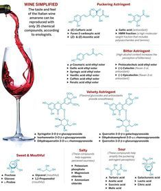 The flavor compounds of wine.