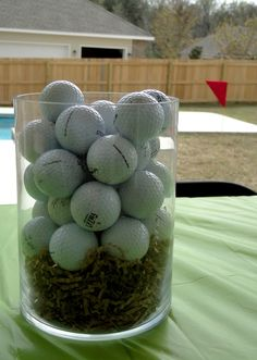 Golf Party Decor - The Journey of Parenthood. Golf Centerpieces, Golf Party Decorations, Party Themes, Centerpiece Ideas, Golf First Birthday, Golf Birthday Cakes, Golf Birthday Party Ideas, Golf Themed Cakes, Grandpa Birthday