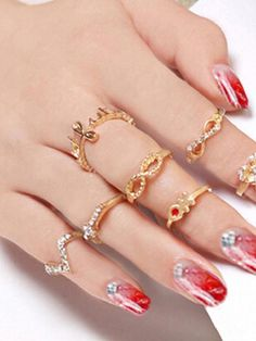 1 Set 7 Pcs Rhinestone Bowknot Knuckle Finger Tip Stacking Rings