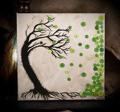 LOVE this button tree on canvas!