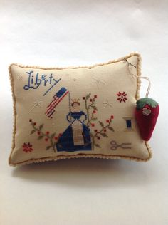 "Hand stitched "" Grand Olde Flag"" pillow/bowl filler by Brenda Gervais."