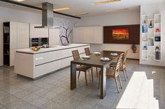 Ostrůvkový odsavač Novy Flat'line 7640 na studiu Hanák Home Design Home Design, Kitchens, Table, Furniture, Home Decor, Bell Jars, Fume Hood, Exhaust Hood, Decoration Home