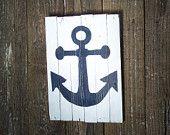 Barn wood sign anchor in dark blue on white wash board, nautical, home decor, bathroom, bedroom