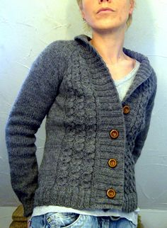 grey forestry by red cuties- Veronik Avery pattern, cables, thick rib band that makes cute collar, raglan sleeves- has the makings of a favourite.