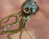 Dark Aquatic Mechanical Jellyfish - You Choose The Eye Colour - Small - Necklace