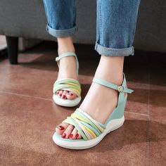 ab0abce4c2bb Women Beach Sandals Ankle Straps Wedges Platform High-heeled Shoes