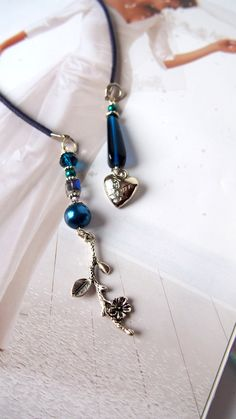 Something blue - Handmade Blue glass and perls Leather Beaded Bookmark for Guest Book, Elegant Beaded bookmark for readers. This wonderful handmade leather book mark is made out of different size of blue glass and crystal beads with few special charms including a Heart Love and