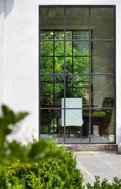 Dining Room Exterior Detail Dining Contemporary Grounds by Anne Decker Architects Patio Interior, Interior And Exterior, Exterior Windows, Architecture Details, Interior Architecture, Steel Doors And Windows, Big Windows, Crittall, Architect Design