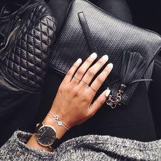 black watch, black bag, & fabulous bracelets