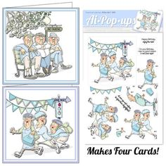 Card Kit. Old Geezer & skating grannies. 4 sheets with 2 different designs   sells for 7.99.  Card Kit. 4 sheets with 2 different designs. Made by Art Impressions Rubber Stamps. Fun Rubber Stamps. You can purchase these from my ebay store Pat's Rubber Stamps & Scrapbooks, Click on the picture here to see the listing , or call me 423-357-4334 with order, . We take PayPal. You get FREE SHIPPING ON PHONE ORDERS of $30.00 or more. Use my search engine to find all items you are interested in