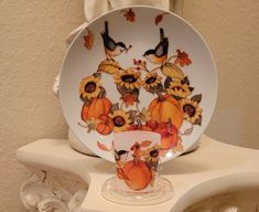 Fall Plate And Candleholder With Chickadees, Pumpkins, Fall Leaves, Apples And More - 3 Piece Set by DontForgetTheFlowers on Etsy Flickering Lights, Flameless Candles, Pillar Candles, Votive Holder, Fall Leaves, Wrapping Paper Bows, Decorative Plates, Chickadees, Fall Candles