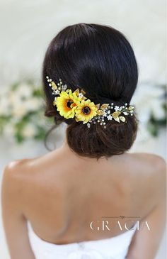 HYPATIA Yellow Sunflower Bridal Headpiece Fall Wedding Flower Crown Autumn Halo by TopGracia #topgraciawedding #bridalhairaccessories #weddingheadband