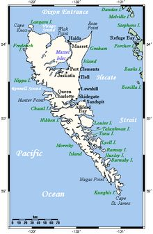 Map of the Islands Haida Gwaii or Queen Charlotte Islands off the North Coast of British Columbia, Canada Parc National, National Parks, Canada Destinations, Haida Gwaii, Les Continents, Island Map, Visit Canada, World Cities, Vacation Places
