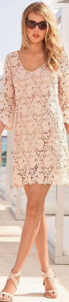 Boston Proper Crochet Shift Lace coral floral Dress. Summer  #women #fashion outfit #clothing style apparel @roressclothes closet ideas