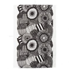 Marimekko's Siirtolapuutarha tea towel, black - white