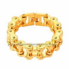 pulsera dorado especial estilo cadena de la bicicleta en acero inoxidable para hombre -SSBTG283806