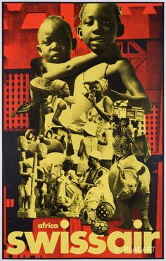 Original Vintage Photo Collage Poster for Swissair by Henri Ott – prototype Old Ones, Vintage Photos, Old Things, Africa, Collage, The Originals, Artwork, Movie Posters, Collages