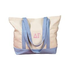 Canvas Sorority Tote Bag w/ Sewn-On Letters Delta Sorority, Alpha Xi Delta, Sorority Canvas, Sorority Letters, Sorority Outfits, Sorority Gifts, Small Shoulder Bag, Tote Handbags, Canvas Tote Bags