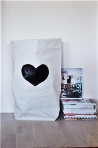 Tellkiddo Paperbag/ Oppbevaringspose, Hjerte Sort (218-Paperbag_06)