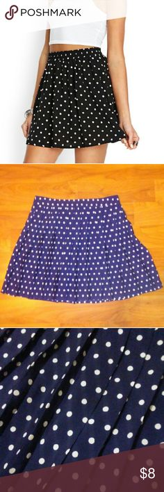 "Forever 21 Navy Polka Dot Skater Skirt 100%polyester, length:16"" left invisible zipper and pleats Forever 21 Skirts Midi"