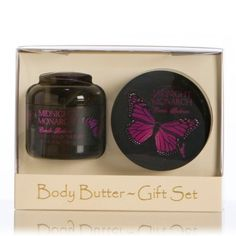 Midnight Monarch  Body Butter  Gift Set -   Our Body Butter Gift Duet set features a 4 ounce jar of our best selling product, Glycerine Hand Therap,y and a 5.25 ounce jar of our rich and creamy Body Butter.  $ 24.99