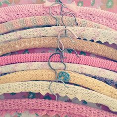 Granny hangers- I used to crochet them using yarn & my grandma would sew them around the wooden hangers for me.  I have some that are over 30 years old!