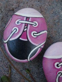 TINY TENNIES big smiles hand painted rock fun by MyGardenRocks